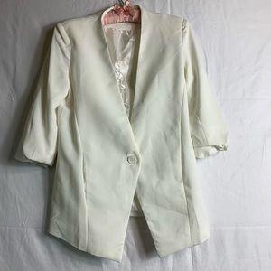 Lush White Cream Button Up Blazer Womens Size M